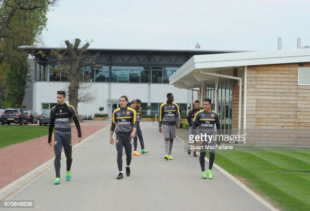 Gabriel Hector Bellerin and Alexis Sanchez of Arsenal before a training session at London Colney on April 20 2017 in St Albans England
