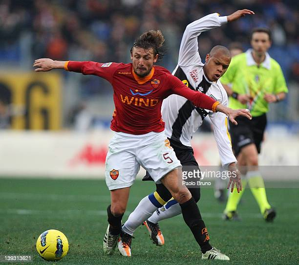 Gabriel Ivan Heinze of AS Roma competes for the ball with Jonathan Biabiany of Parma FC during the Serie A match between AS Roma and Parma FC at...