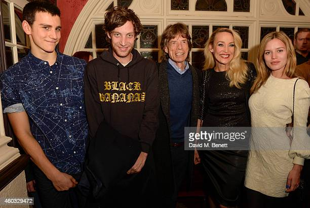 Gabriel Jagger James Jagger Sir Mick Jagger Jerry Hall and Georgia May Jagger attend the press night performance of 'Snow White And The Seven Dwarfs'...