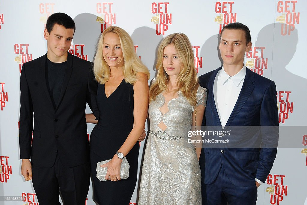 Gabriel Jagger, Jerry Hall, Georgia May Jagger and Josh McLellan attend a special screening of 'Get On Up' on September 14, 2014 in London, England.