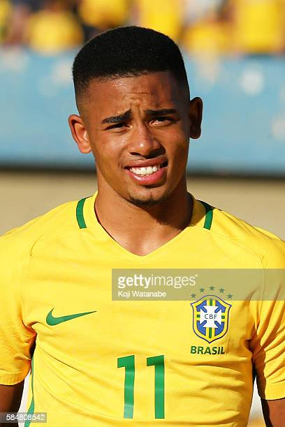 Gabriel Jesus Brazil looks on during the international friendly match between Japan and Brazil at the Estadio Serra Dourada on July 30 2016 in...