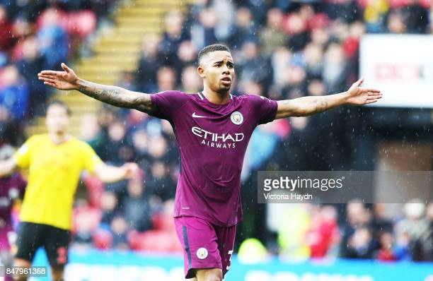 Gabriel Jesus celebrates during the Premier League match between Watford and Manchester City at Vicarage Road on September 16 2017 in Watford England