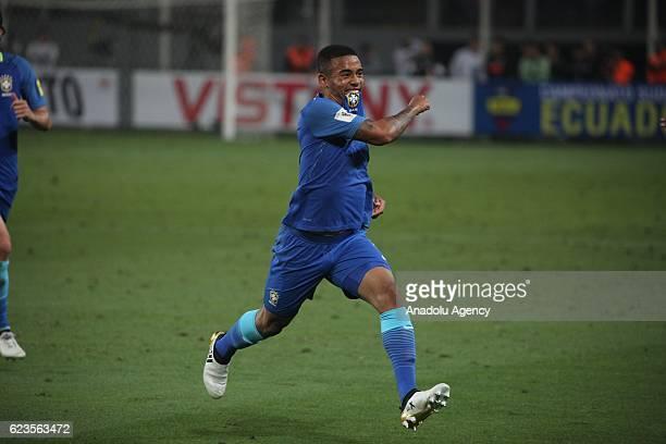 Gabriel Jesus of Brasil celebrates his goal during 2018 World Cup Qualifying match between Peru and Brasil at National Stadium in Lima Peru on...