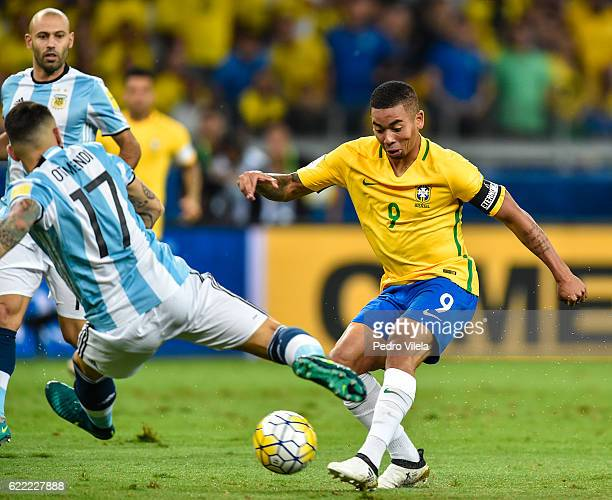 Gabriel Jesus of Brazil and Otamendi of Argentina battle for the ball during a match between Brazil and Argentina as part 2018 FIFA World Cup Russia...