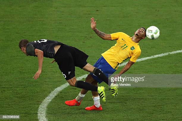 Gabriel Jesus of Brazil and Sven Bender of Germany during the Men's Football Final between Brazil and Germany at the Maracana Stadium on Day 15 of...
