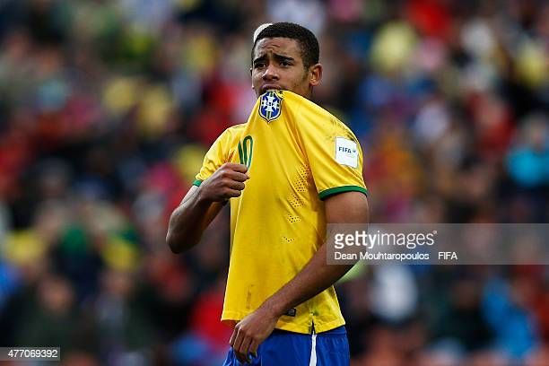 Gabriel Jesus of Brazil celebrates after he takes and scores a penalty past goalkeeper Andre Moreira of Portugal during the FIFA U20 World Cup New...