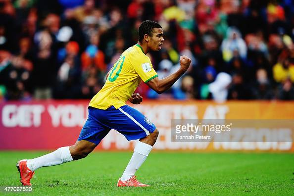 Gabriel Jesus of Brazil celebrates after scoring a goal during a penalty shoot out during the FIFA U20 World Cup New Zealand 2015 quarter final match...