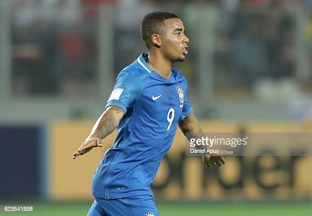 Gabriel Jesus of Brazil celebrates after scoring his team's first goal during a match between Peru and Brazil as part of FIFA 2018 World Cup...
