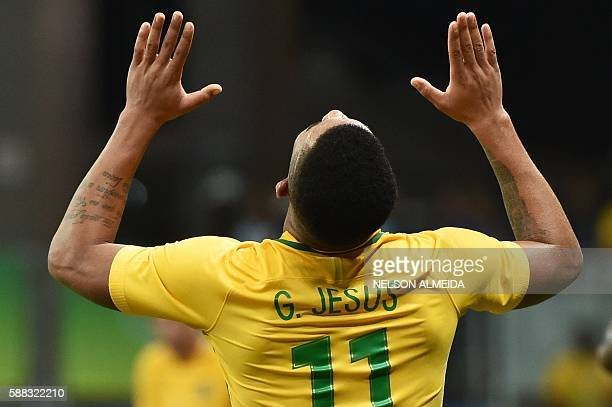 TOPSHOT Gabriel Jesus of Brazil celebrates his goal against Denmark during the Rio 2016 Olympic Games mens first round Group A football match Brazil...