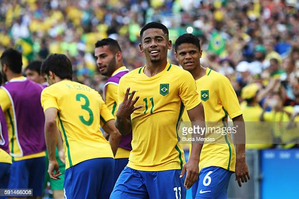 Gabriel Jesus of Brazil celebrates scoring during the Men's Semifinal Football match between Brazil and Honduras at Maracana Stadium on Day 12 of the...