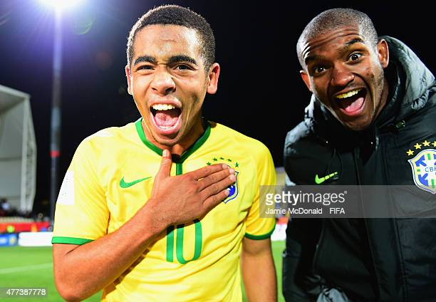 Gabriel Jesus of Brazil celebrates victory during the FIFA U20 World Cup Semi Final match between Brazil and Senegal at Christchurch Stadium on June...