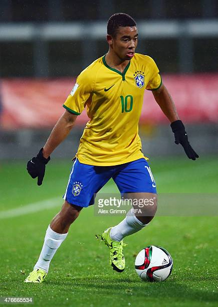 Gabriel Jesus of Brazil controles the ball during the FIFA U20 World Cup New Zealand 2015 Round of 16 match between Brazil and Uruguay at Stadium...