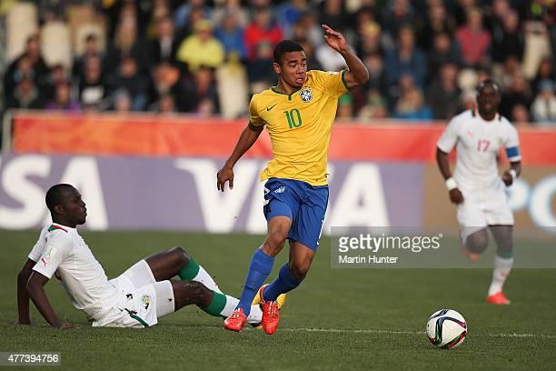 Gabriel Jesus of Brazil controls the ball during the FIFA U20 World Cup Semi Final match between Brazil and Senegal at Christchurch Stadium on June...