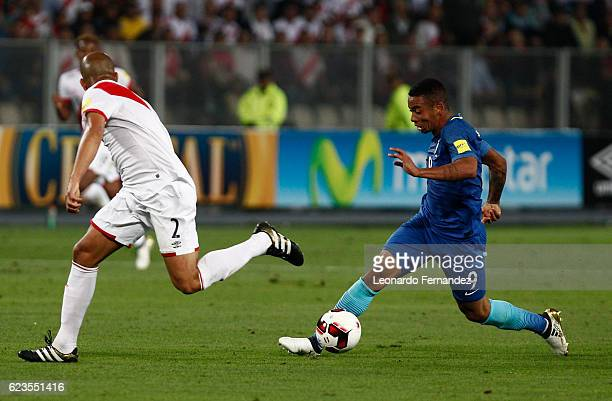 Gabriel Jesus of Brazil fights for the ball with Alberto Rodriguez of Peru during a match between Peru and Brazil as part of FIFA 2018 World Cup...