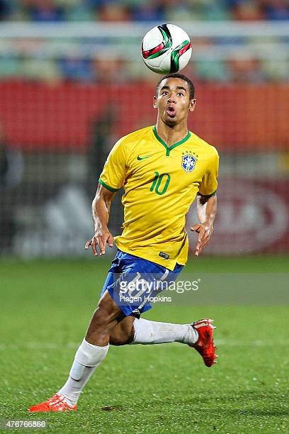 Gabriel Jesus of Brazil in action during the FIFA U20 World Cup New Zealand 2015 Round of 16 match between Brazil and Uruguay at Stadium Taranaki on...