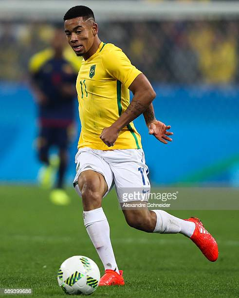 Gabriel jesus of Brazil in action during the match between Brazil and Colombia mens football quarter final at Arena Corinthians on August 13 2016 in...