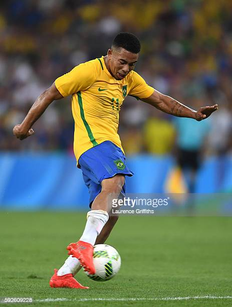 Gabriel Jesus of Brazil in action during the Men's Football Final between Brazil and Germany at the Maracana Stadium on Day 15 of the Rio 2016...
