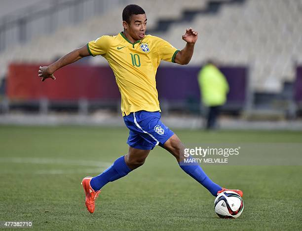 Gabriel Jesus of Brazil takes a pass during the FIFA Under20 World Cup semifinal football match between Brazil and Senegal at Christchurch Stadium in...