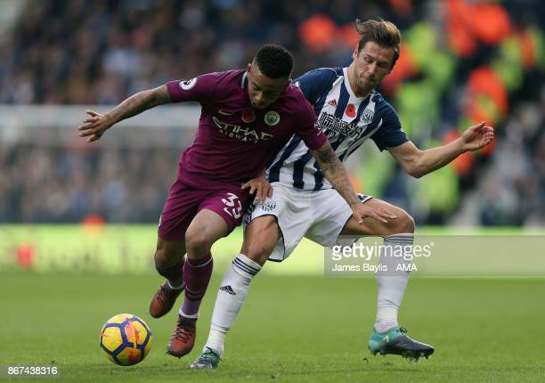 Gabriel Jesus of Manchester City and Grzegorz Krychowiak of West Bromwich Albion during the Premier League match between West Bromwich Albion and...
