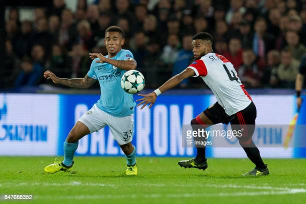 Gabriel Jesus of Manchester City and Jeremiah St Juste of Rotterdam battle for the ball during the UEFA Champions League match between Feyenoord...