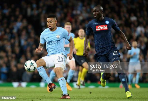 Gabriel Jesus of Manchester City and Kalidou Koulibaly of SSC Napoli battle for possesson during the UEFA Champions League group F match between...