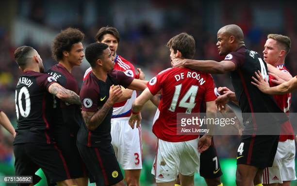 Gabriel Jesus of Manchester City and Marten de Roon of Middlesbrough confront each other during the Premier League match between Middlesbrough and...