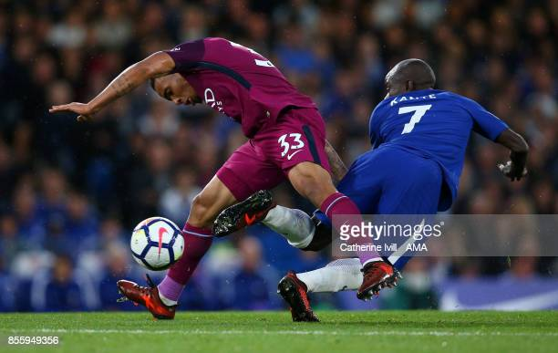 Gabriel Jesus of Manchester City and N'Golo Kante of Chelsea during the Premier League match between Chelsea and Manchester City at Stamford Bridge...