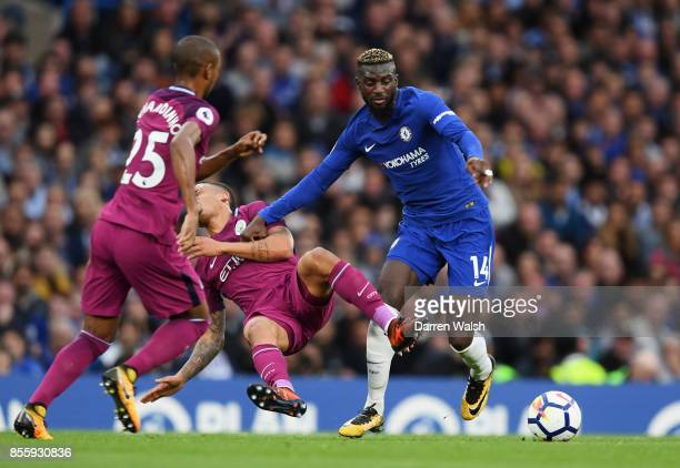 Gabriel Jesus of Manchester City and Tiemoue Bakayoko of Chelsea battle for possession during the Premier League match between Chelsea and Manchester...
