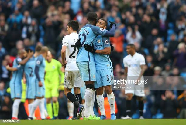 Gabriel Jesus of Manchester City and Yaya Toure of Manchester City celebrate during the Premier League match between Manchester City and Swansea City...