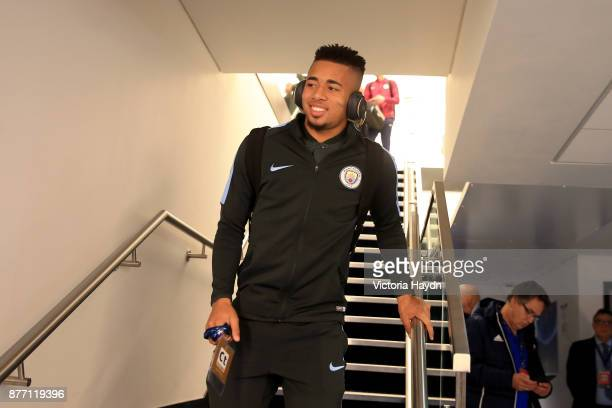 Gabriel Jesus of Manchester City arrives to the stadium prior to the UEFA Champions League group F match between Manchester City and Feyenoord at...