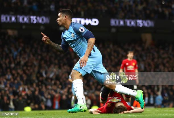 Gabriel Jesus of Manchester City celebrates after he scores a goal which is later dissalowed for offside during the Premier League match between...