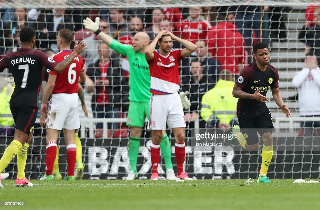 Gabriel Jesus of Manchester City celebrates after he scores his team's second goal during the Premier League match between Middlesbourgh and Manchester City at Riverside Stadium on April 30, 2017 in Middlesbrough, England.