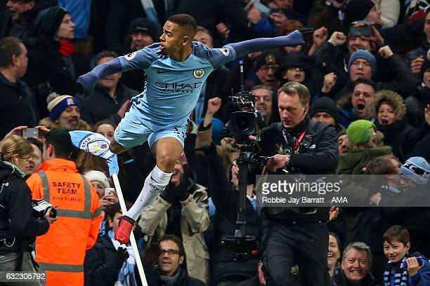 Gabriel Jesus of Manchester City celebrates after scoring a goal to make it 32 only for it to be ruled out for offside during the Premier League...