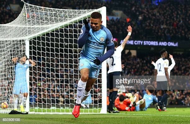Gabriel Jesus of Manchester City celebrates as he thinks he has scored Manchester City third goal but it was rulled for offside during the Premier...