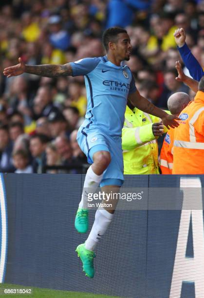 Gabriel Jesus of Manchester City celebrates scoring his sides fifth goal during the Premier League match between Watford and Manchester City at...