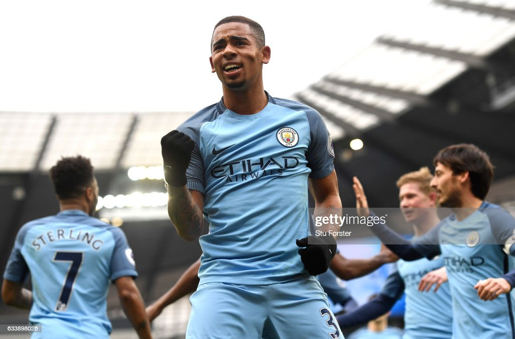 Gabriel Jesus of Manchester City celebrates scoring his sides first goal during the Premier League match between Manchester City and Swansea City at Etihad Stadium on February 5, 2017 in Manchester, England.