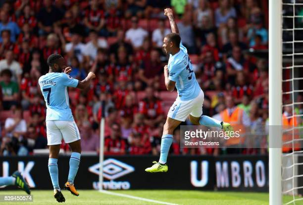 Gabriel Jesus of Manchester City celebrates scoring his sides first goal during the Premier League match between AFC Bournemouth and Manchester City...