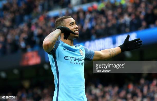 Gabriel Jesus of Manchester City celebrates scoring his sides second goal during the Premier League match between Manchester City and Swansea City at...
