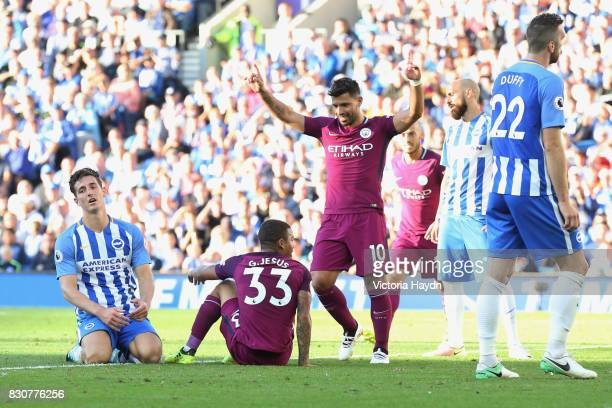 Gabriel Jesus of Manchester City celebrates scoring his sides second goal with Sergio Aguero of Manchester City during the Premier League match...