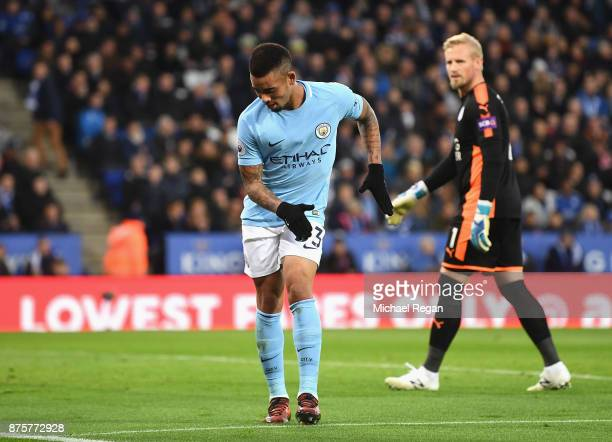 Gabriel Jesus of Manchester City celebrates scoring the opening goal during the Premier League match between Leicester City and Manchester City at...