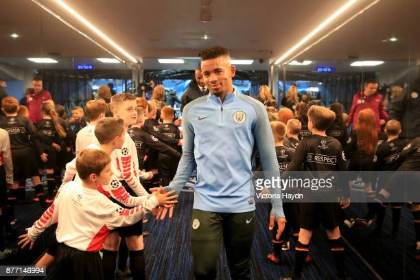 Gabriel Jesus of Manchester City greet the mascots prior to the UEFA Champions League group F match between Manchester City and Feyenoord at Etihad...
