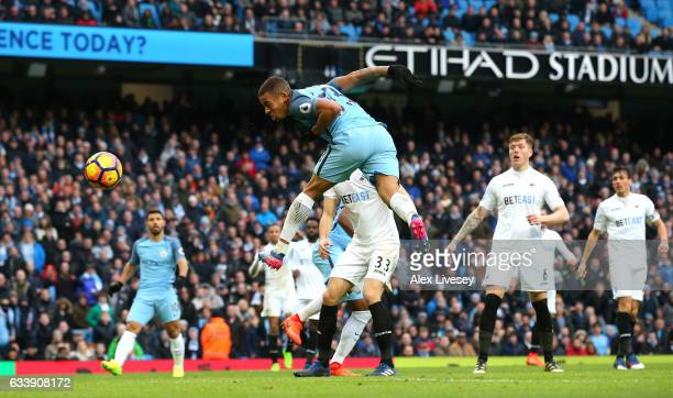Gabriel Jesus of Manchester City has his header saved in the build up to scoring his sides second goal during the Premier League match between...