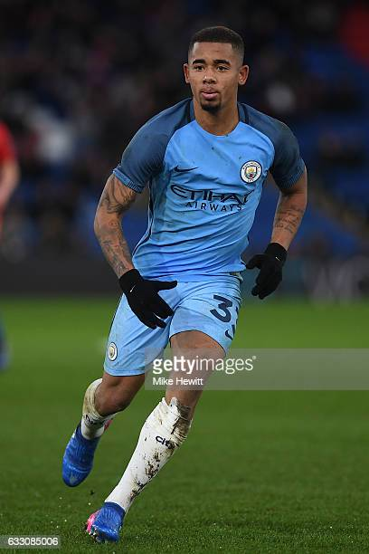 Gabriel Jesus of Manchester City in action at during the The Emirates FA Cup Fourth Round match between Crystal Palace and Manchester City at...
