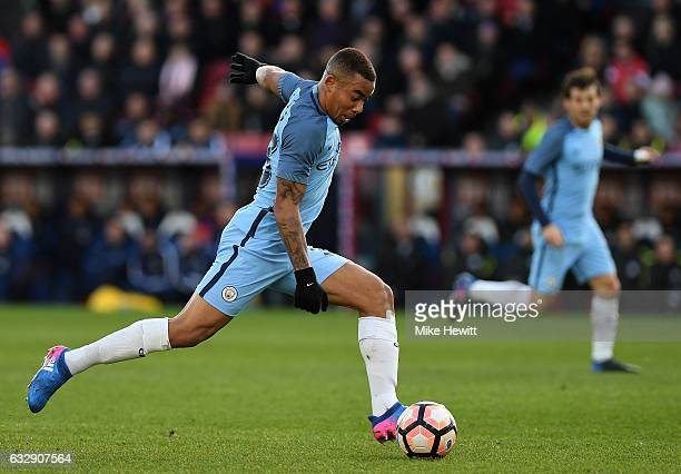 Gabriel Jesus of Manchester City in action during the Emirates FA Cup Fourth Round match between Crystal Palace and Manchester City at Selhurst Park...