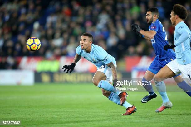 Gabriel Jesus of Manchester City in action during the Premier League match between Leicester City and Manchester City at The King Power Stadium on...