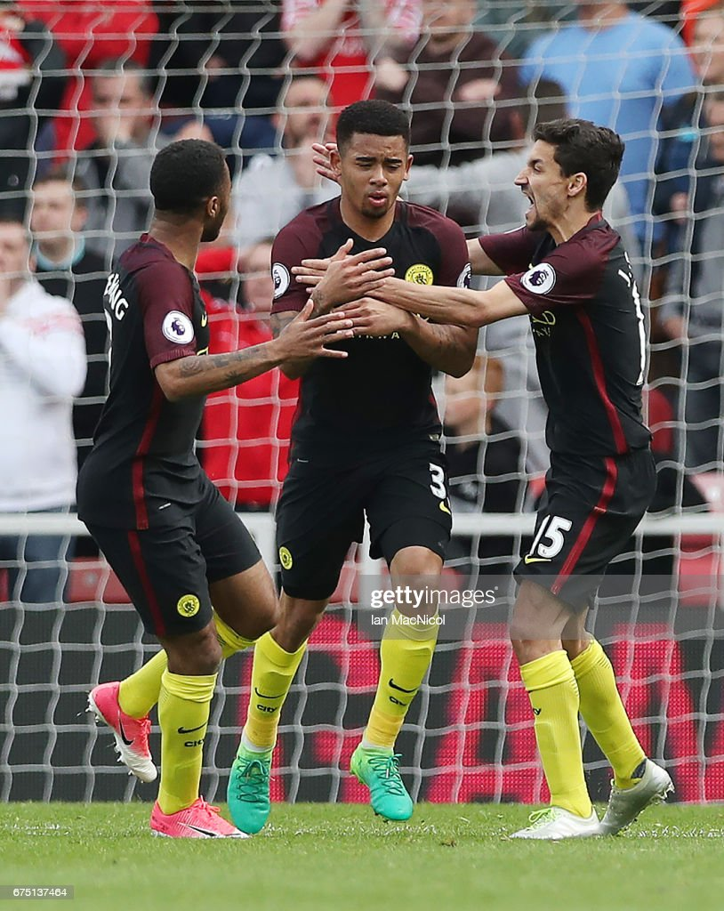 Gabriel Jesus of Manchester City is congratulated by team mates after he scores his team's second goal during the Premier League match between Middlesbourgh and Manchester City at Riverside Stadium on April 30, 2017 in Middlesbrough, England.