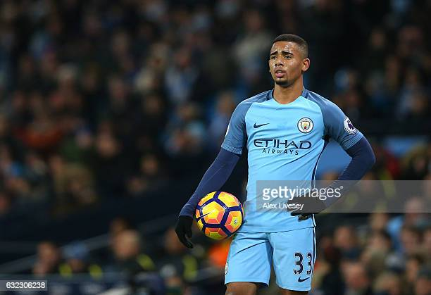 Gabriel Jesus of Manchester City looks on after the Premier League match between Manchester City and Tottenham Hotspur at the Etihad Stadium on...
