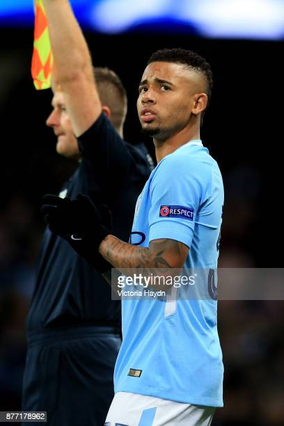 Gabriel Jesus of Manchester City looks on before being substituted during the UEFA Champions League group F match between Manchester City and...