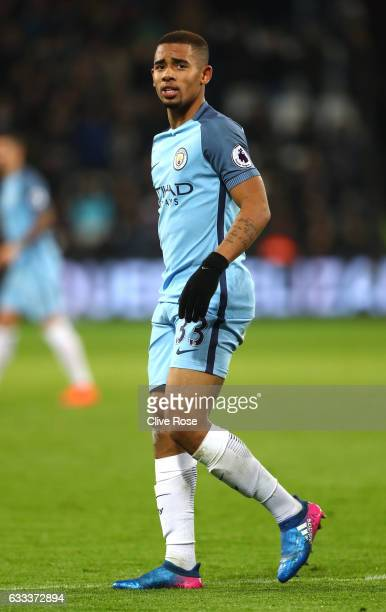 Gabriel Jesus of Manchester City looks on during the Premier League match between West Ham United and Manchester City at London Stadium on February 1...