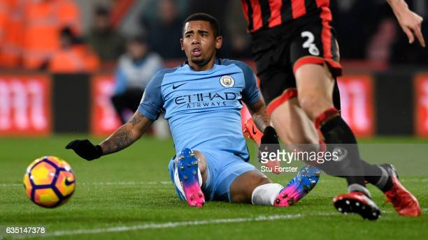 Gabriel Jesus of Manchester City reacts after being pulled back attempting to break through the Bournemouth defence during the Premier League match...